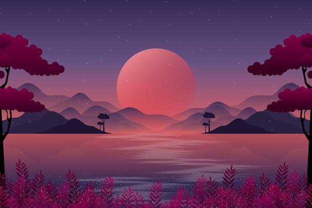 Paesaggio della montagna con l'illustrazione del cielo notturno