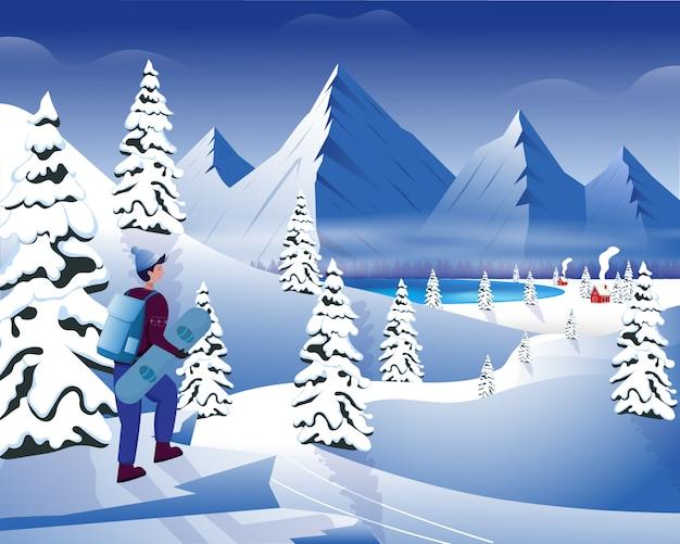 Paesaggio della montagna di paesaggio con lo snowboarder nella stagione invernale