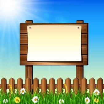 Paesaggio della natura con cartello in legno