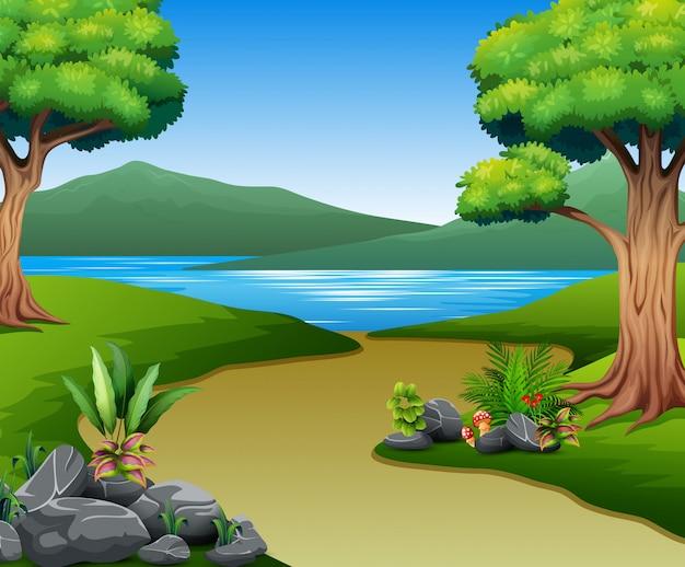 Paesaggio della natura con fiume e montagna