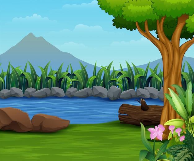 Paesaggio della natura con un fiume e un backround della montagna