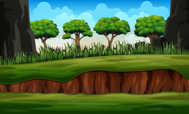 Paesaggio della natura del fumetto con la pianta e gli alberi
