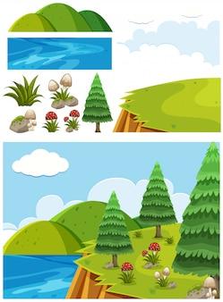Paesaggio della natura della scogliera con alberi e funghi