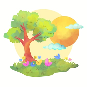 Paesaggio della primavera alla luce del giorno con i fiori