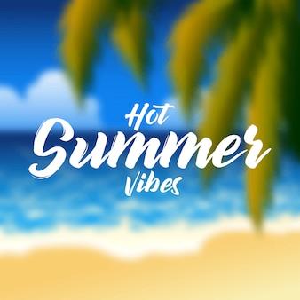 Paesaggio della spiaggia con palme e scritte su sfocatura dello sfondo. illustrazione del concetto di estate