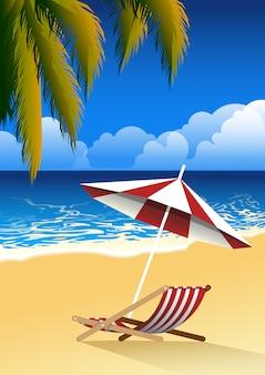 Paesaggio della spiaggia con sedia e foglie di palma sfondo. concetto di estate