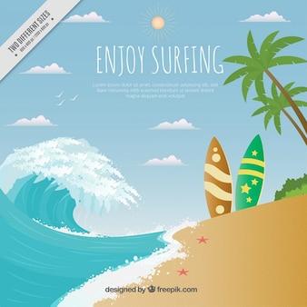 Paesaggio della spiaggia con tavole da surf sfondo