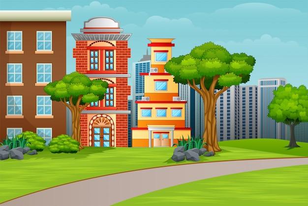 Paesaggio delle facciate delle case della città dell'illustrazione del fumetto