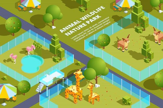 Paesaggio dello zoo con vari animali
