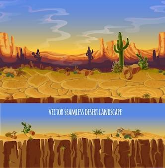Paesaggio desertico. cartone animato poster, banner per il gioco.