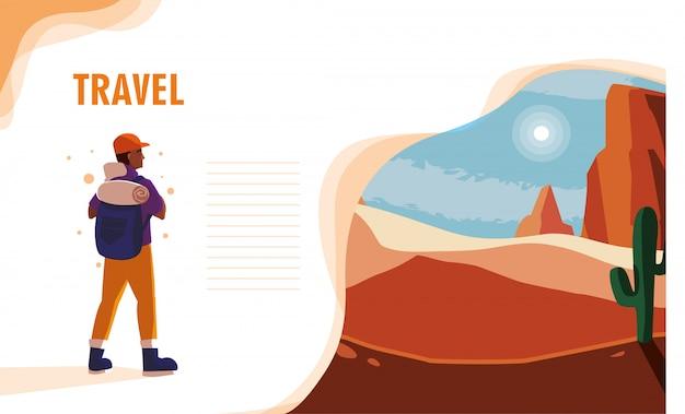 Paesaggio desertico con viaggiatore