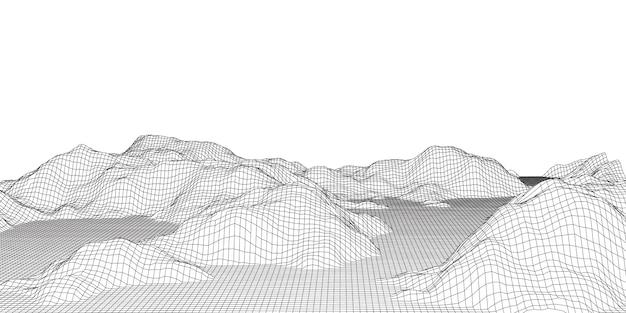 Paesaggio dettagliato del terreno del wireframe in bianco e nero