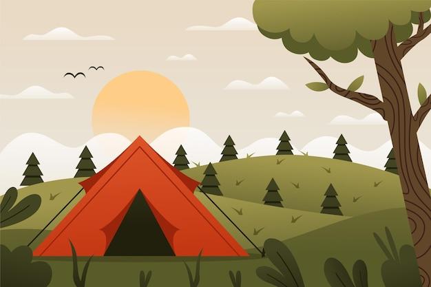 Paesaggio di area campeggio design piatto con tenda e colline