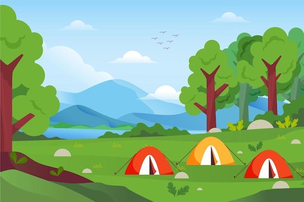Paesaggio di area campeggio design piatto con tende