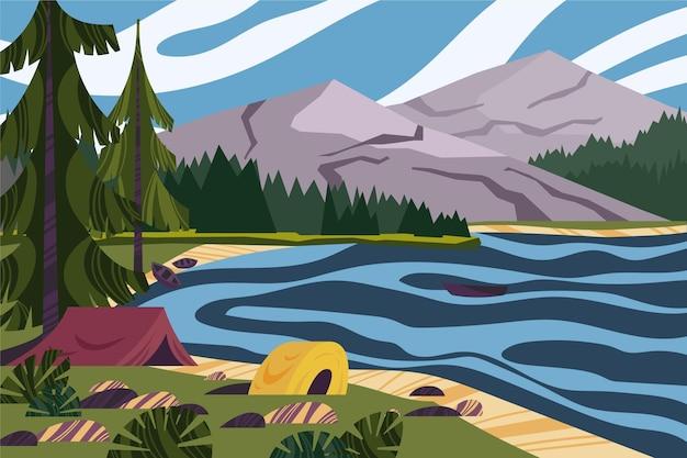 Paesaggio di area di campeggio con il lago