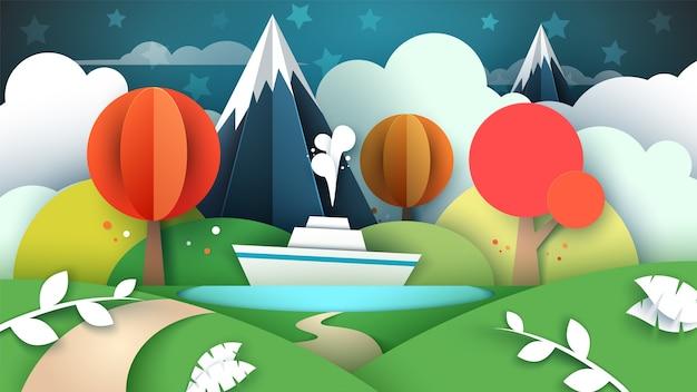Paesaggio di carta dei cartoni animati. lago, nave montagna
