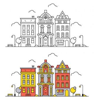 Paesaggio di città di linea sottile in stile struttura piatta