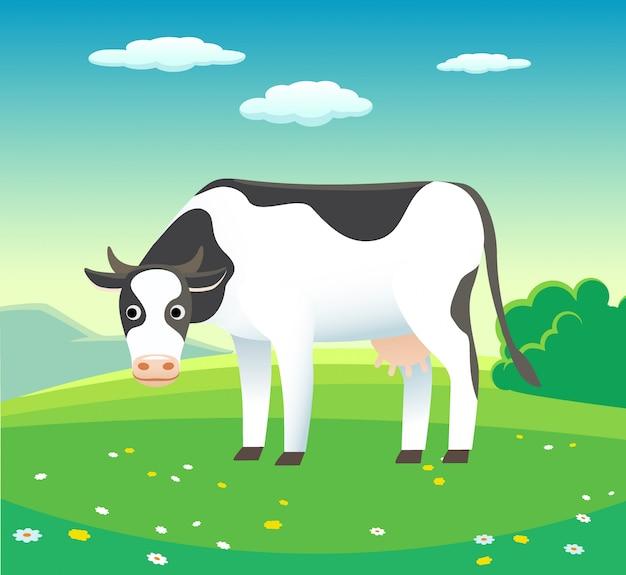 Paesaggio di estate della natura con la mucca in prato