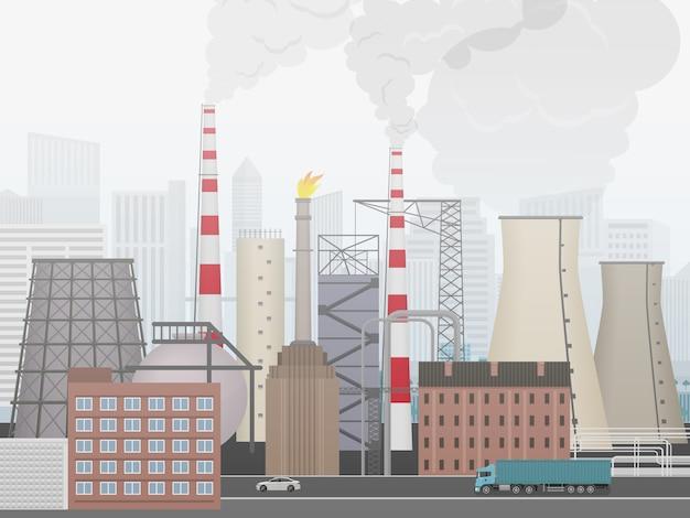 Paesaggio di fabbrica di impianti industriali