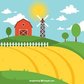 Paesaggio di fattoria con fienile rosso in un giorno sanny