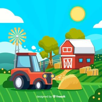 Paesaggio di fattoria dei cartoni animati