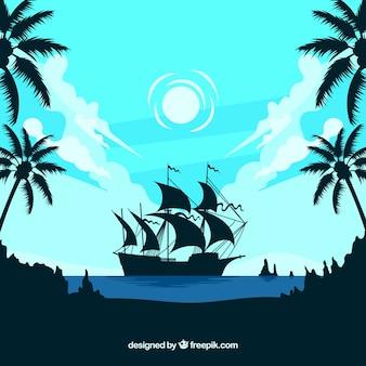 Paesaggio di fondo con la barca silhouette