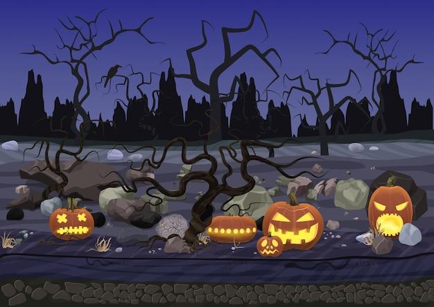Paesaggio di halloween orrore spaventoso di notte