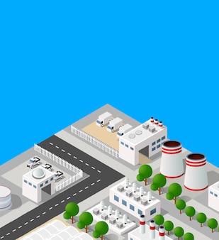 Paesaggio di impianti industriali, fabbriche, parcheggi