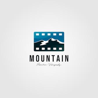 Paesaggio di logo del nastro del film di progettazione dell'illustrazione della montagna