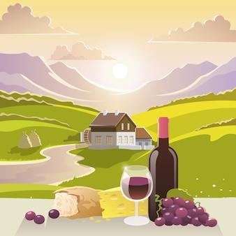 Paesaggio di montagna con vino e formaggio