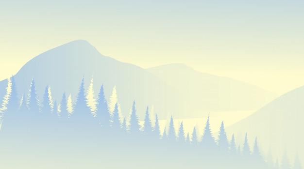 Paesaggio di montagna di ghiaccio di vettore con pineta