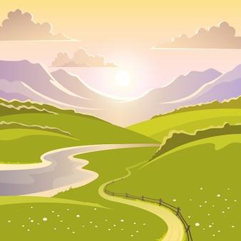 Paesaggio di montagna sullo sfondo