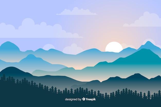 Paesaggio di montagne sullo sfondo