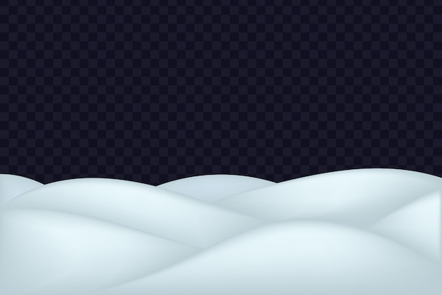 Paesaggio di neve isolato su sfondo trasparente scuro.