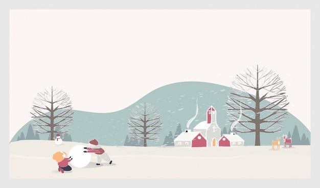 Paesaggio di paesaggio invernale di natale con bambini, pupazzo di neve e cervi