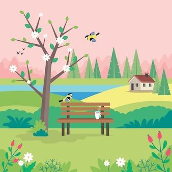 Paesaggio di primavera con panca, albero fiorente, casa, campi e natura.
