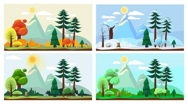 Paesaggio di quattro stagioni. fumetto di vettore di paesaggio della natura del tempo di inverno di estate della primavera autunno