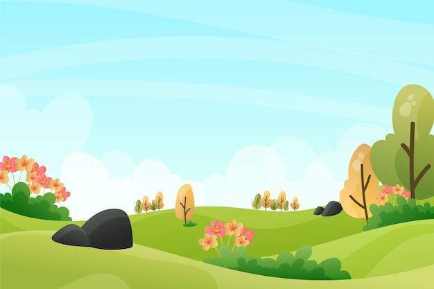 Paesaggio di rilassamento della primavera con gli alberi nel giorno soleggiato