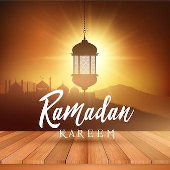 Paesaggio di sfondo ramadan con lanterna appesa e tavolo espositore in legno