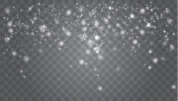 Paesaggio di snowy isolato su oscurità. natale, paesaggio del terreno boscoso di snowy
