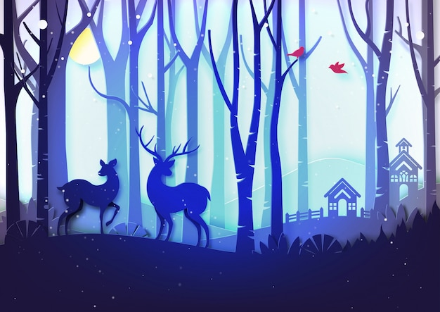 Paesaggio di stagione invernale e concetto di giorno di natale con la fauna selvatica dei cervi e del cottage in foresta.