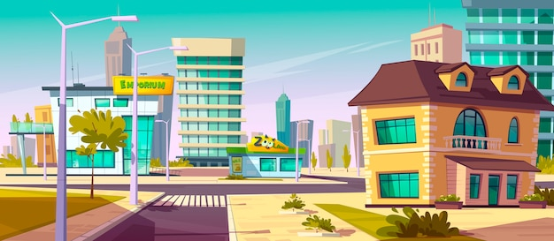 Paesaggio di strada urbana con crocevia, marciapiede