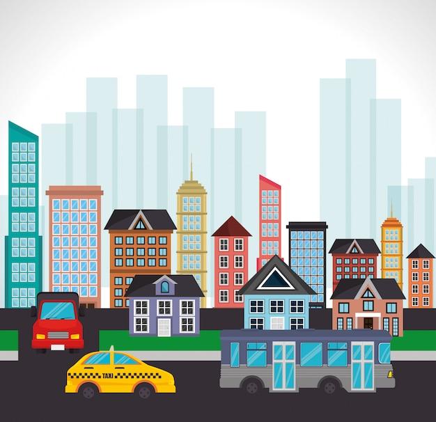 Paesaggio di traffico stradale edificio di città