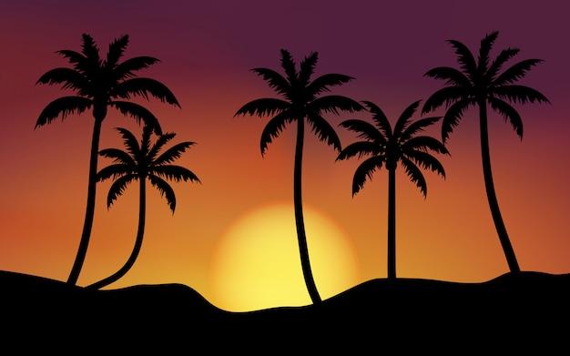 Paesaggio di tramonto con le palme con il sole d'ardore