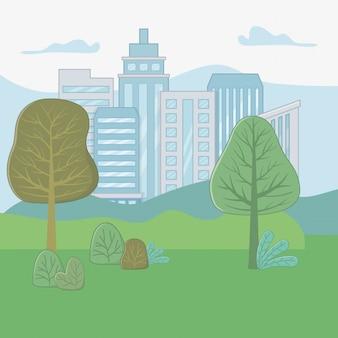 Paesaggio di un parco con alberi di design