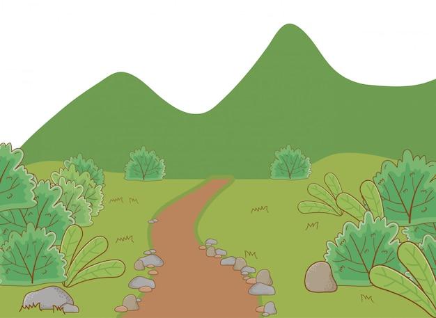 Paesaggio di un parco con l'illustrazione degli alberi