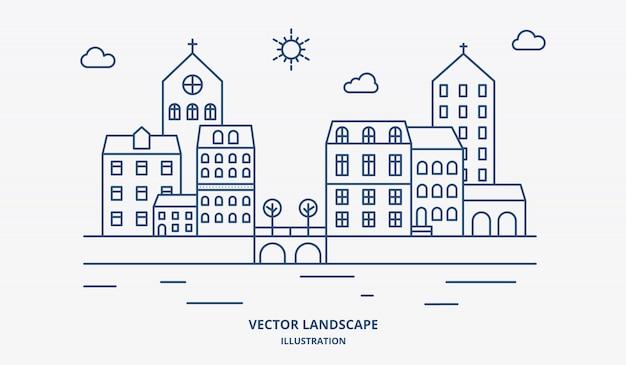 Paesaggio di vettore con case, edificio, albero, cielo. paesaggio suburbano. vettore di design linea piatta.