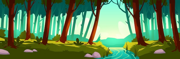 Paesaggio di vettore con foresta e fiume