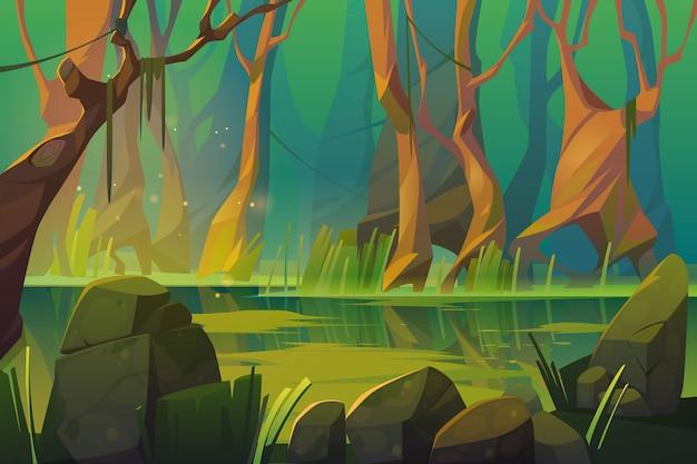 Paesaggio di vettore con la palude in foresta tropicale