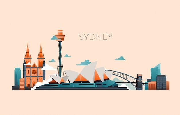 Paesaggio di vettore del punto di riferimento di viaggio dell'australia con l'opera di sydney e le costruzioni famose